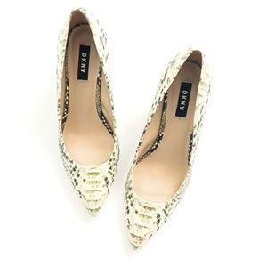 Dkny Shoes - DKNY Snake Print Pointed Toe Block Heels Pumps 8